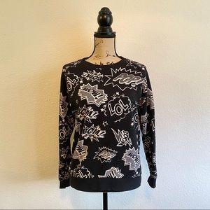 FOREVER 21 Graphic Onomatopoeia Sweatshirt POP S